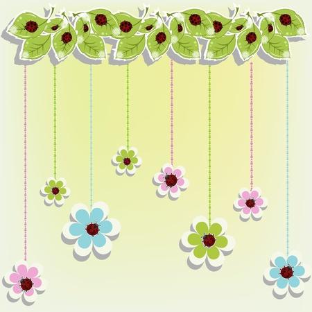Beautiful card with ladybugs on flowers