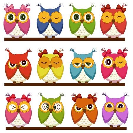Foto de Set of 12 owls with different emotions - Imagen libre de derechos
