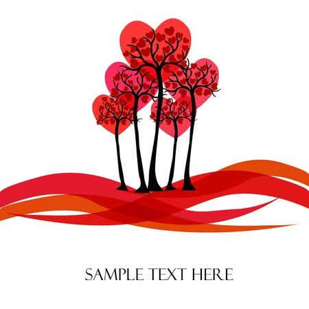 Ilustración de Beautiful tree with hearts on a white background - Imagen libre de derechos
