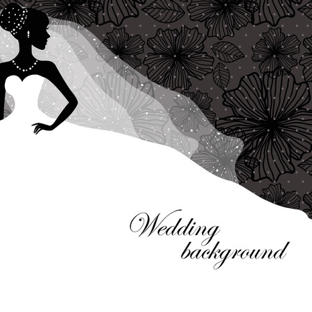 A beautiful silhouette of a bride in a dress on a black background with patterns