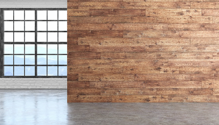 Photo for Loft wood empty room interior with concrete floor, window and brickwall. - Royalty Free Image