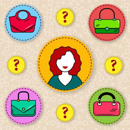Illustration pour Woman choosing a handbag. How to choose a purse?  Hard choice. - image libre de droit
