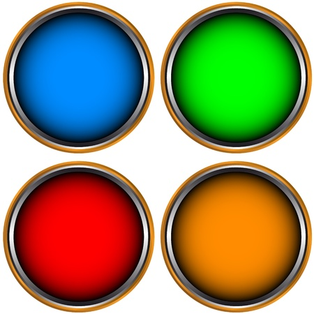 Four multi-colored web icons on a white background
