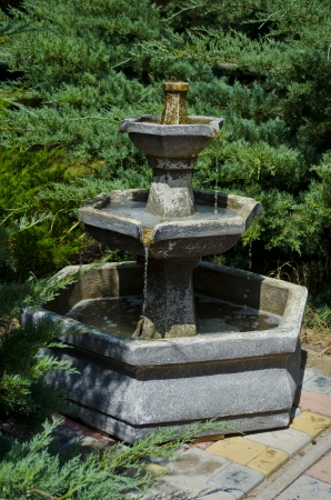 Fine stone fountain in park among trees