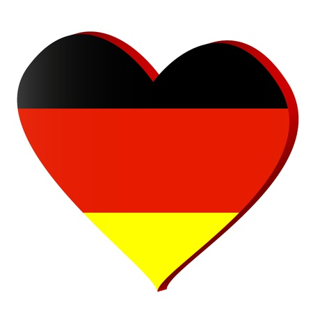 3d heart with a German flag. Vector illustration
