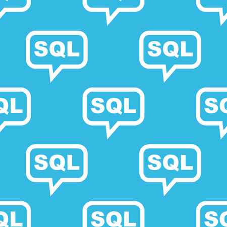 Text SQL in chat bubble, repeated on blue background