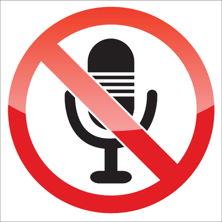 Image of microphone, behind NO sign, on white background