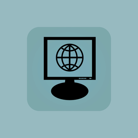 Globe symbol on screen, in square, on pale blue background