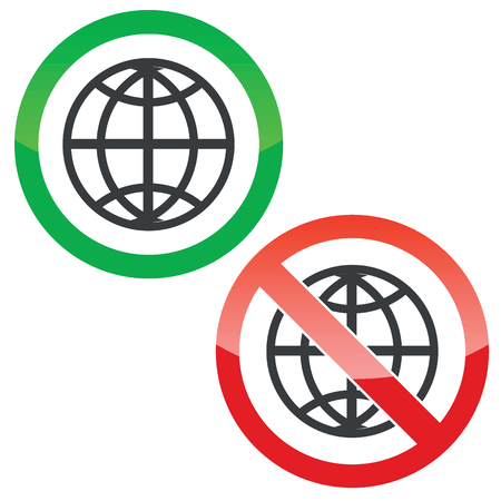 Allowed and forbidden signs with globe symbol, isolated on white