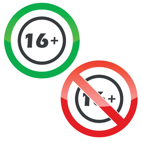 Allowed and forbidden signs with text 16 plus in circle, isolated on white