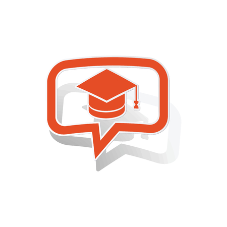 Graduation message sticker, orange chat bubble with image inside, on white background