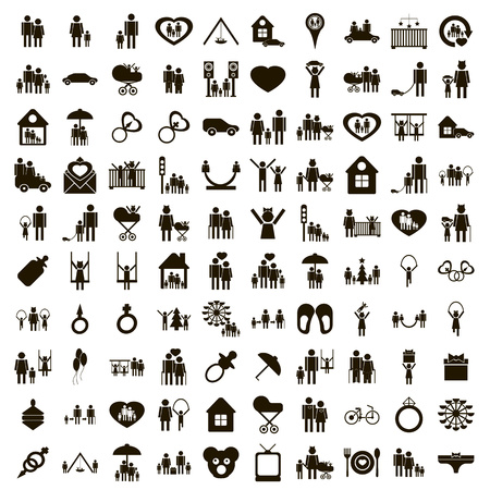 Ilustración de 100 family icons set in simple style on a white background - Imagen libre de derechos