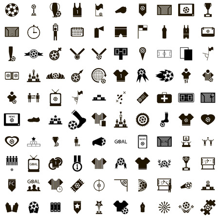 Ilustración de 100 Soccer Icons set in simple style isolated on white background - Imagen libre de derechos