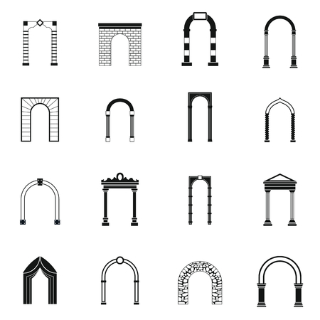 Arch set icons in simple style for any design