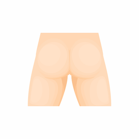 Human buttocks icon in cartoon style on a white background