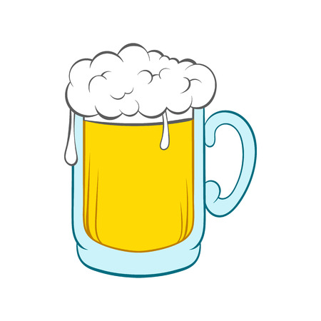 Illustration pour Beer mug icon in cartoon style on a white background - image libre de droit