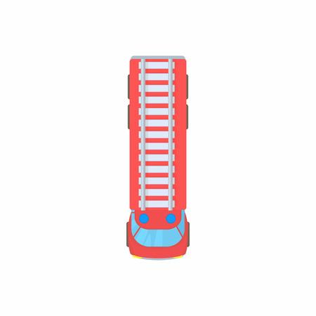 Illustration for Fire truck top view icon in cartoon style on a white background - Royalty Free Image