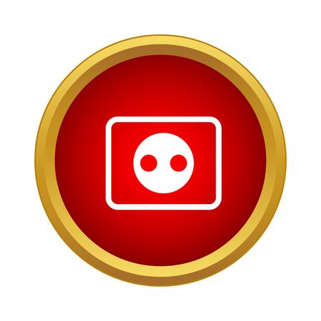 Ilustración de Outlet icon in simple style in red circle. Electricity symbol - Imagen libre de derechos