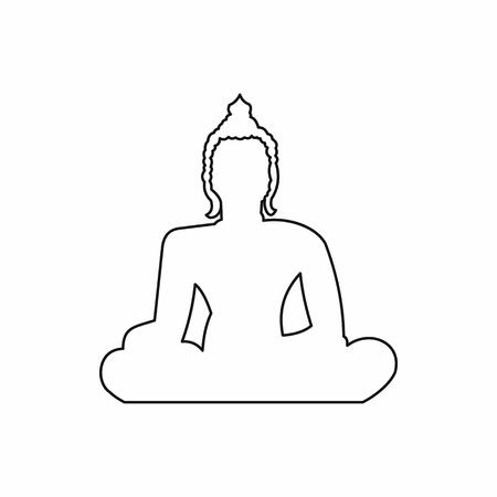 Ilustración de Statue of Buddha sitting in lotus pose icon in outline style isolated vector illustration - Imagen libre de derechos