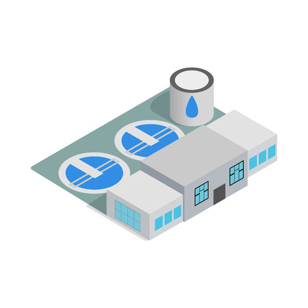 Illustration pour Water treatment building icon in isometric 3d style isolated on white background - image libre de droit