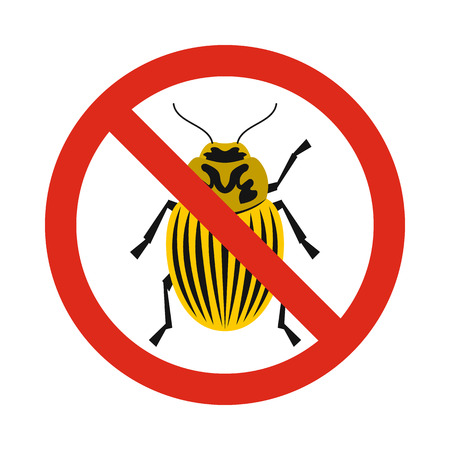 Prohibition sign colorado beetles icon in flat style isolated on white background. Warning symbol