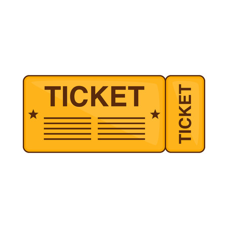 Train ticket icon in cartoon style isolated on white background. Way symbol