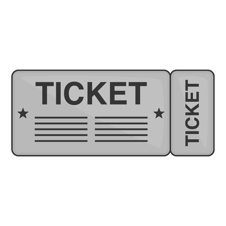 Train ticket icon in black monochrome style isolated on white background. Way symbol vector illustration