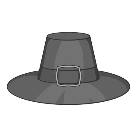 Gentlemans hat icon in black monochrome style isolated on white background. Headdress symbol vector illustration