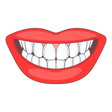 Smile with white tooth icon. Cartoon illustration of smile vector icon for web design