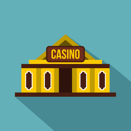 Casino building icon. Flat illustration of casino building vector icon for web isolated on baby blue background