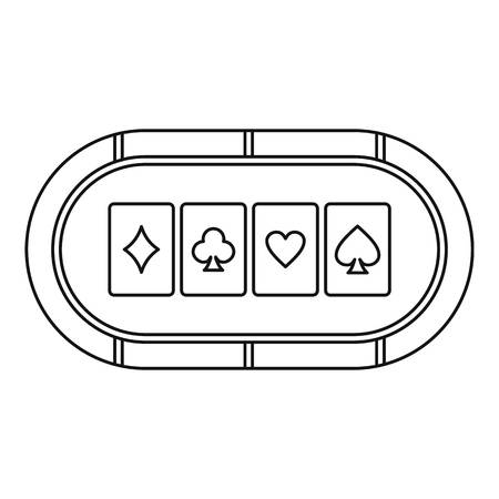 Poker table with playing cards icon. Outline illustration of poker table vector icon for web