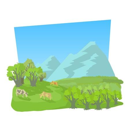 Illustration pour Small valley icon. Cartoon illustration of small valley vector icon for web - image libre de droit