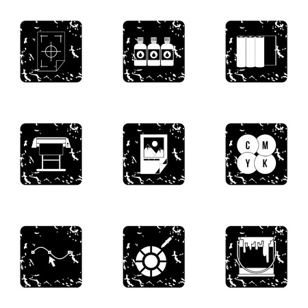 Printing in polygraphy icons set. Grunge illustration of 9 printing in polygraphy vector icons for web