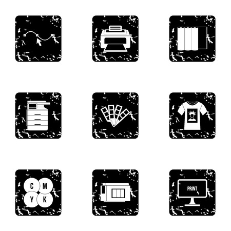 Printing icons set. Grunge illustration of 9 printing vector icons for web