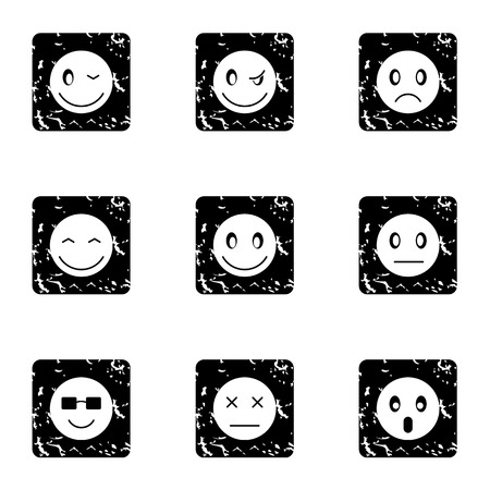 Emoticons for messages icons set. Grunge illustration of 9 emoticons for messages vector icons for web