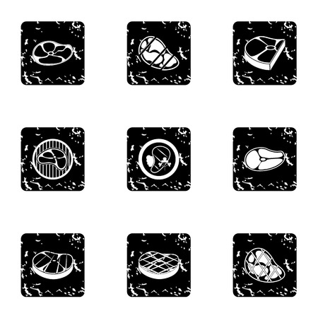 Beef icons set. Grunge illustration of 9 beef vector icons for web