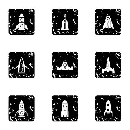 Flight in cosmo icons set. Grunge illustration of 9 flight in cosmo vector icons for web