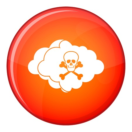 Cloud with skull and bones icon in red circle isolated on white background vector illustration