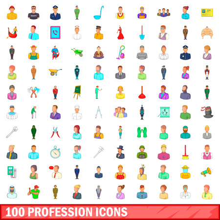 100 profession icons set in cartoon style for any design vector illustration
