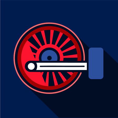 Locomotive wheel icon, flat style