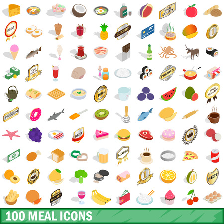 100 mains icons set in isometric 3d style for any design vector illustration