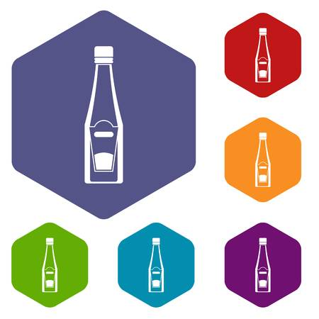 Bottle of ketchup icons set hexagon isolated vector illustration