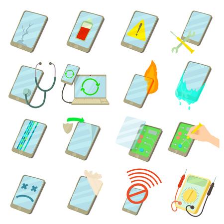 Illustration pour Repair phones fix icons set, cartoon style - image libre de droit