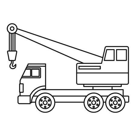 Truck crane icon in outline style isolated vector illustration.