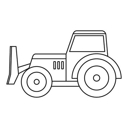 Skid steer loader bulldozer icon in outline style isolated vector illustration.