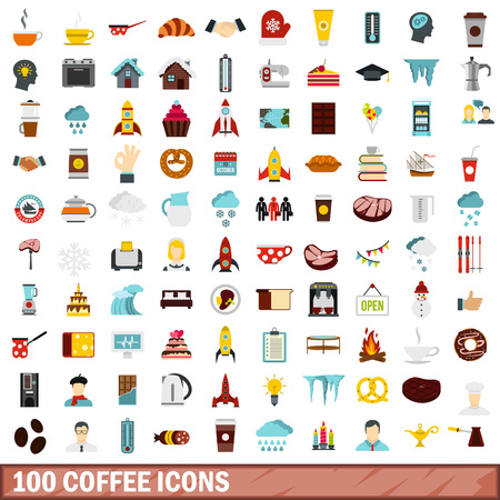 100 coffee icons set in flat style for any design vector illustration