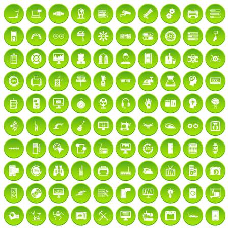 100 set green circle isolated on white background vector illustration