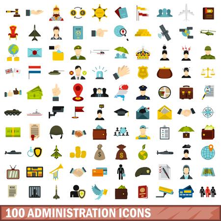 100 administration icons set, flat style