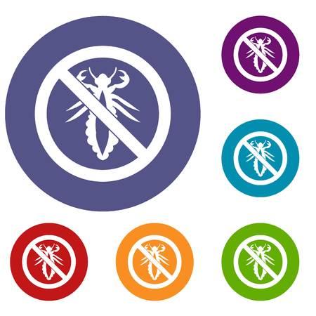 No louse sign icons set