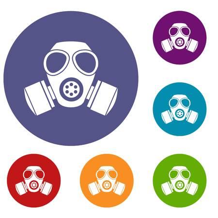 Chemical gas mask icons set
